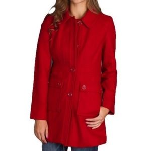 Anthropologie Tulle Red Pea Coat Jacket